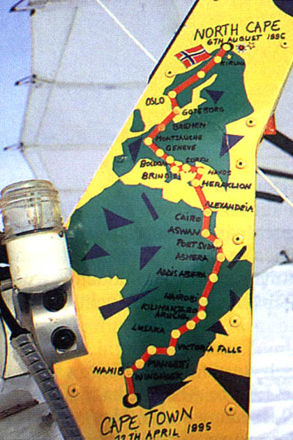 95 Cape to Cape Expedition Route - painted on Olivier's trike